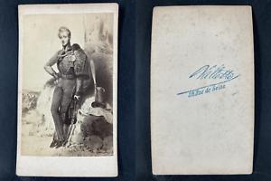Vallette, Paris, Hussard en grande tenue Vintage cdv albumen print CDV, tirage