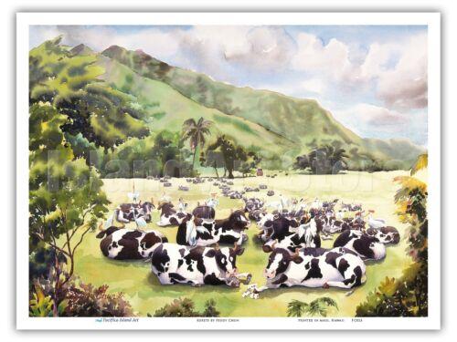 Hawaii Watercolor Painting Print Peggy Chun Egrets on Hawaiian Cows