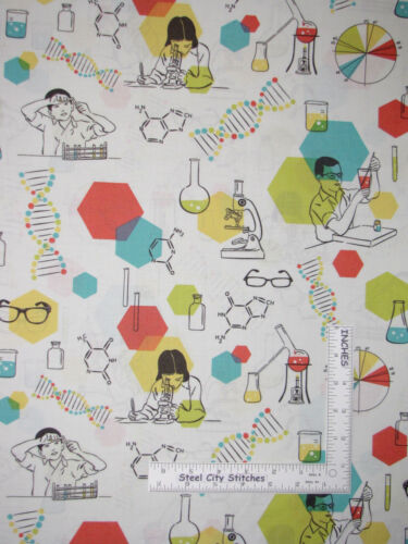Science Chemistry Class Cotton Fabric Atom Students Microscope Toss Cream ~ Yard