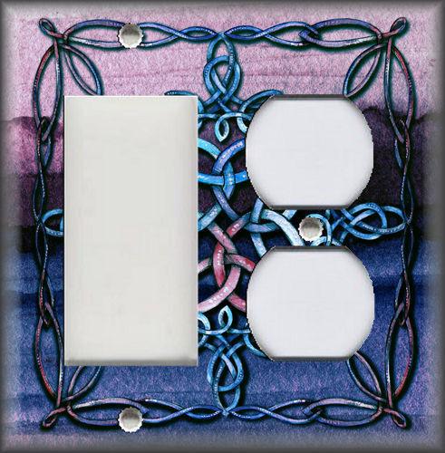 Metal Light Switch Plate Cover Celtic Knot Decor Blue Purple Mystic Knot Decor