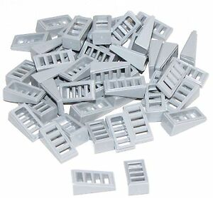 Lego-Lot-of-50-New-Light-Bluish-Gray-Slope-18-2-x-1-x-2-3-with-4-Slots-Pieces