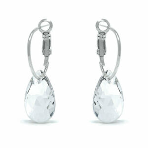 Small-Drop-Earrings-with-White-Clear-Pear-Crystals-from-Swarovski-Rhodium-Plated