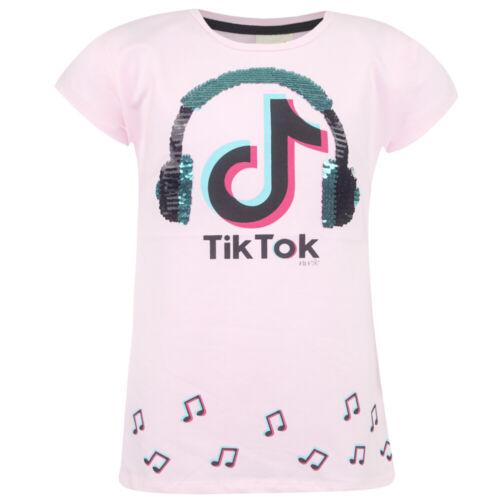Tik Tok Mädchen T-Shirt Shirt Kurzarmshirt kurzarm Pailletten Lachsfarbe