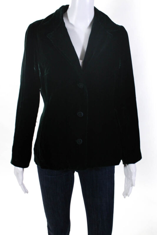 Shannon Mclean Womens Button Up Collared Velvet Blazer Jacket Green Size Small Excellent Quality
