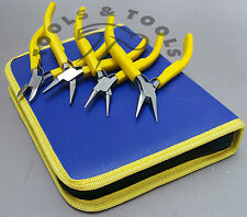 JEWELRY MAKING PLIERS KIT YELLOW  MOLDED HANDLES HOBBY CRAFTS HAND TOOL 4 PC SET