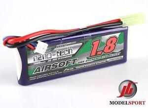 ac440b8cc1 Nano-tech 1800 mAh 2 Cell AIRSOFT LIPO STICK Pack Batterie 7.4 V 20-40 ...