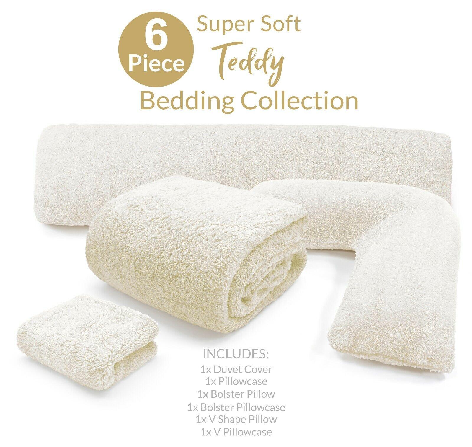 Student Essentials Moving to University Teddy Bedding Starter Cream Set