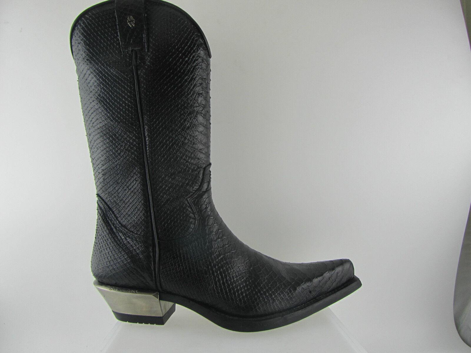 Newrock New Rock 7800 Negro botas De Hombre De Cuero Estampado Serpiente Metálico Hel