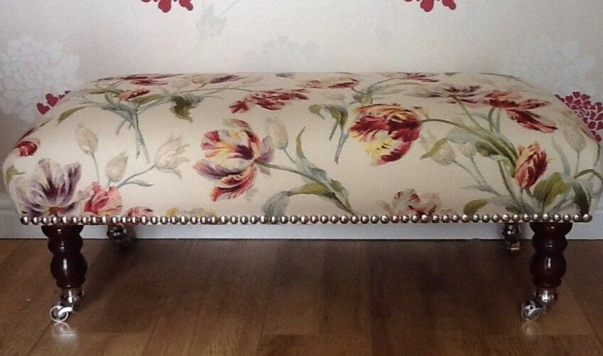 Footstool Stool In Laura Ashley Gosford Cranberry Fabric