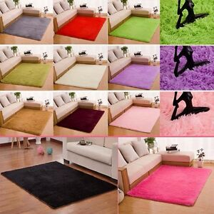 Shaggy-Fluffy-Tapis-Antiderapant-Rug-Salle-a-manger-Carpette-Chambre-Plancher