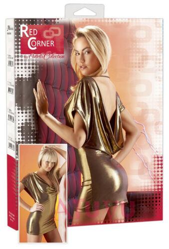 Metal Or Stretch Mini S Sexy Décolleté Soirée Clubwear L Nu Dos Xl Robe Doré M rrxCwE