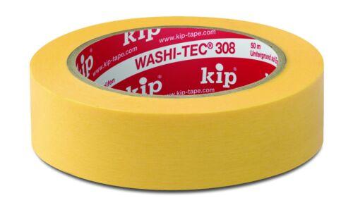 308 Kip Washi-Tec Premium Plus-Jaune 19 mm x 50 m UV de Permanent Ruban de masquage