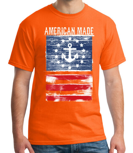 American Made Anchor Adult/'s T-shirt Distressed US Flag Tee for Men 2001C