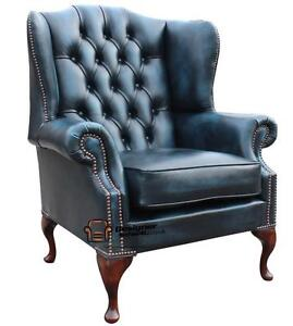 Astounding Details About Chesterfield Mallory Queen Anne High Back Fireside Chair Antique Blue Leather Inzonedesignstudio Interior Chair Design Inzonedesignstudiocom
