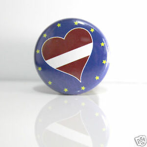 2-Badges-Europe-25mm-PIN-BACK-BUTTON-EPINGLE-Lettonie