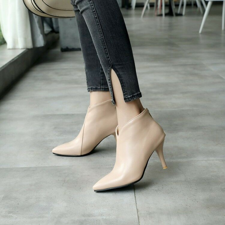Women Pointy Toe Ankle Boots Leather Kitten Heels Solid Plus Size Elegant Shoes