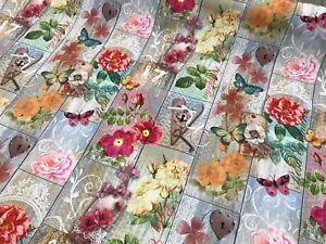 Holzbretter-Blumen-Dekostoff-Baumwolle-Canvas