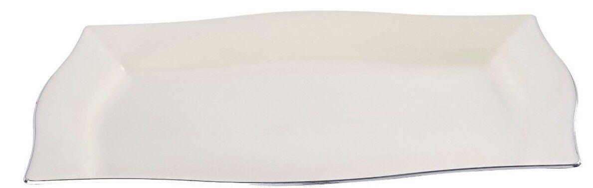 120 x Rettangolare Monouso Plastica Crema Cena Piatti W Silber Rim-Very