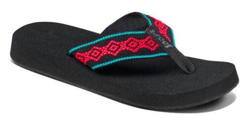 Reef Ladies /'Sandy/' Fabric Strap Flip Flops Pink Black