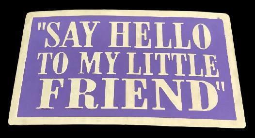 """""""Say Hello To My Little Friend"""" Purple Funny Bar Joke Belt Buckle Buckles"""