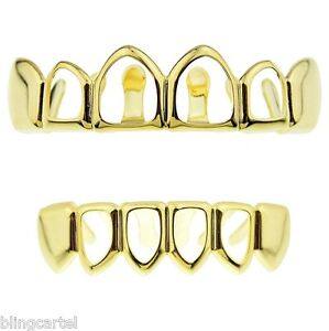 14k Gold Plated Four Open Face Grillz Top and Bottom Teeth Hip Hop Grills Set