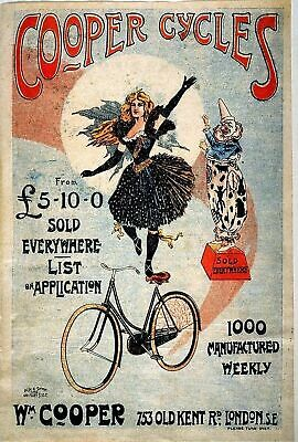 Vintage Cooper Cycles Bicycle Cycling Travel Advertisement Poster Art Print A4