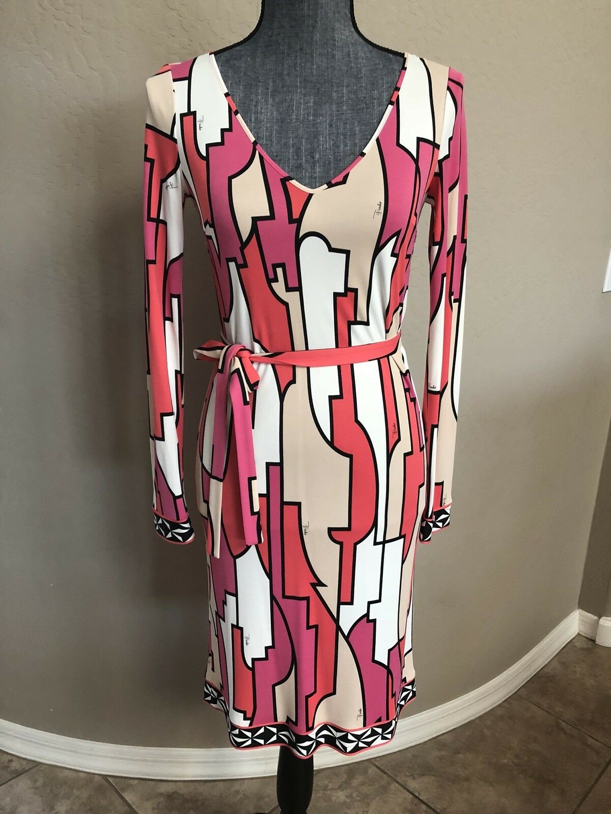 EMILIO PUCCI Pink White Women's Dress Size 40 Or 6 Small