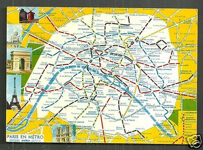 Underground Map Postcard Metro Paris France Stamp 1972 Ebay
