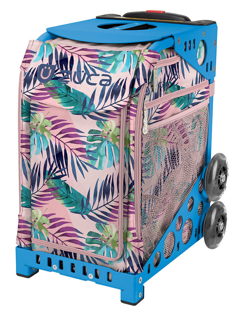 ZUCA Bag PINK OASIS Insert & bluee Frame w Flashing Wheels - FREE SEAT CUSHION