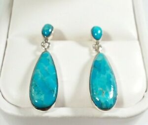 925-STERLING-SILVER-SMALL-TEARDROP-DESIGN-TURQUOISE-1-1-8-034-x-3-8-034-POST-EARRINGS