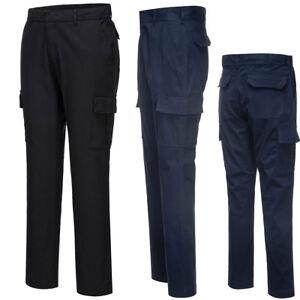 Portwest-Hombre-Stretch-Slim-Combate-Pantalones-De-Trabajo-Pantalones-multibolsillos-Workwear