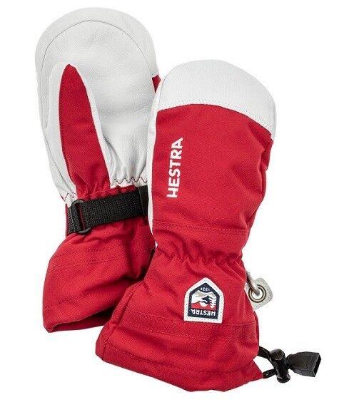 Hestra Army Leather Heli Junior Ski Mitten, Red