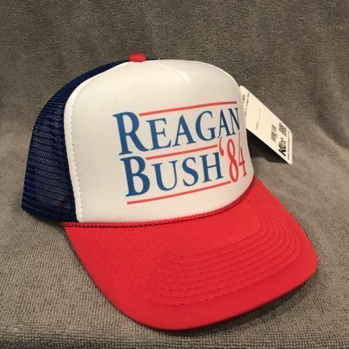 Reagan Bush 84 Trucker Hat Ronald George Campaign Vintage Snapback Cap 2295 New