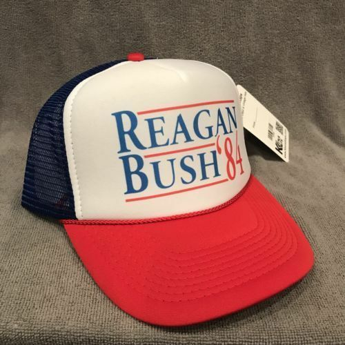 ea5cec832c075 Ronald Reagan George Bush 84 Trucker Hat Funny Campaign Cap Vintage for  sale online