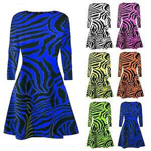 New-Women-Ladies-Zebra-Print-Long-Sleeve-Swing-Dress-Ladies-Flared-Skater-Top