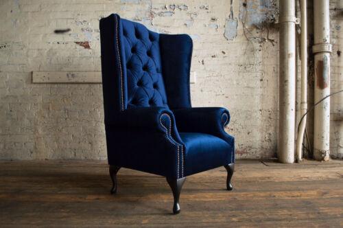 HANDMADE SOFT PLUSH NAVY BLUE VELVET FABRIC CHESTERFIELD WING CHAIR, HIGH BACK