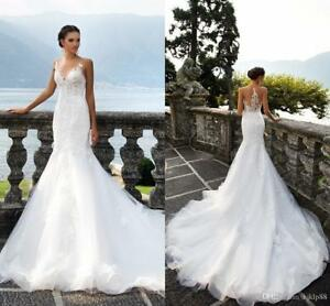 New-white-ivory-Mermaid-Bridal-Gown-Wedding-Dress-Custom-Size-4-6-8-10-12-14-16