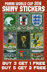 PANINI-WORLD-CUP-2018-SHINY-STICKERS-FOIL-STICKERS-BADGES-TROPHY-LEGENDS