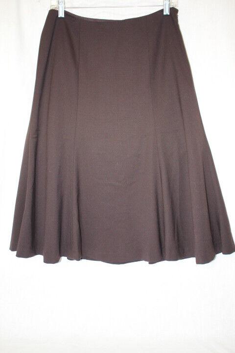LAUREN-RALPH LAUREN Petite Brown Wool Blend Flared Riding Skirt Womens 8P-B104