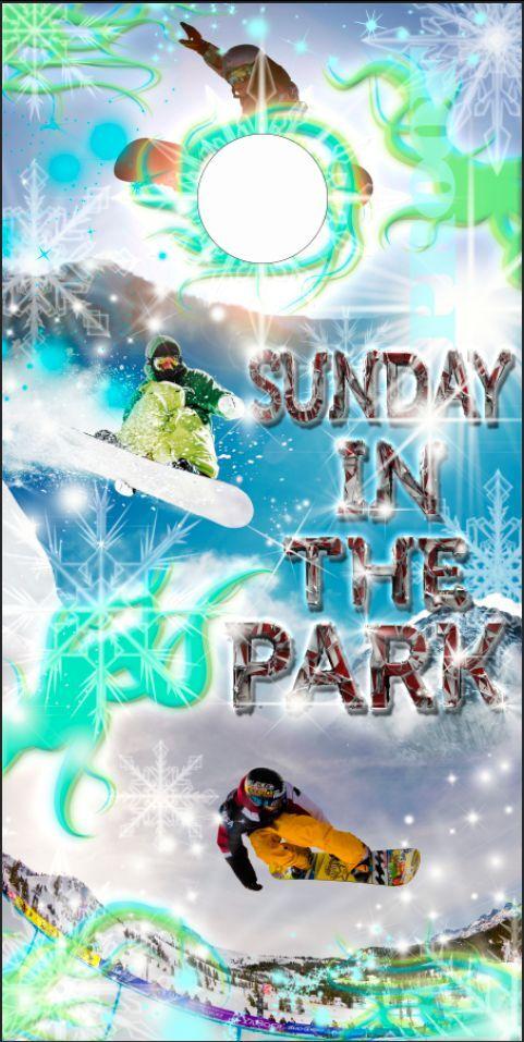 Snowboarding Sunday in the park LAMINATED Cornhole Wrap Bag Toss Skin Decal