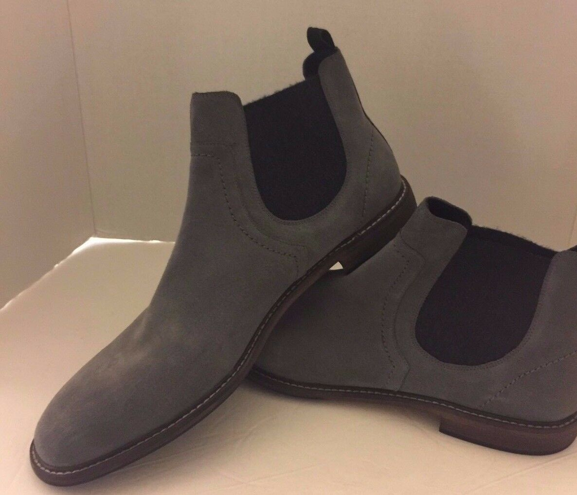 New Rail Men Mid Cut Slip On Ankle Boots Leather 47 Gray USA 12.5 Blue Ocean