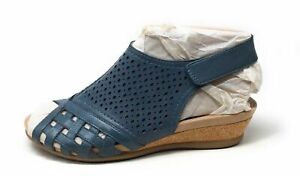 Earth Origins Women's Pisa Galli Perforated Wedge Sandals Lake Blue 7.5 Wide