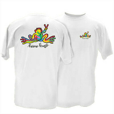 """Peace Frogs Classic """"Retro"""" T-Shirt White Unisex Style Love Happiness NEW"""