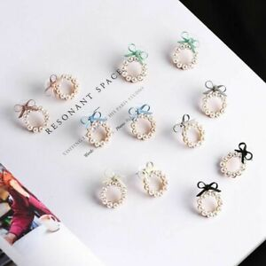 Korean-Style-Women-Cute-Pearl-Bow-Knot-Round-Stud-Earrings-Fashion-Jewelry-Gift