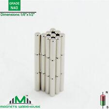 "30-count neodymium N40 Ndfeb cylinder magnets 1/8 x 1/2"" (true N40)"