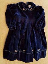 CARRIAGE BOUTIQUES 3T BLUE VELVET FLORAL DRESS ADORABLE