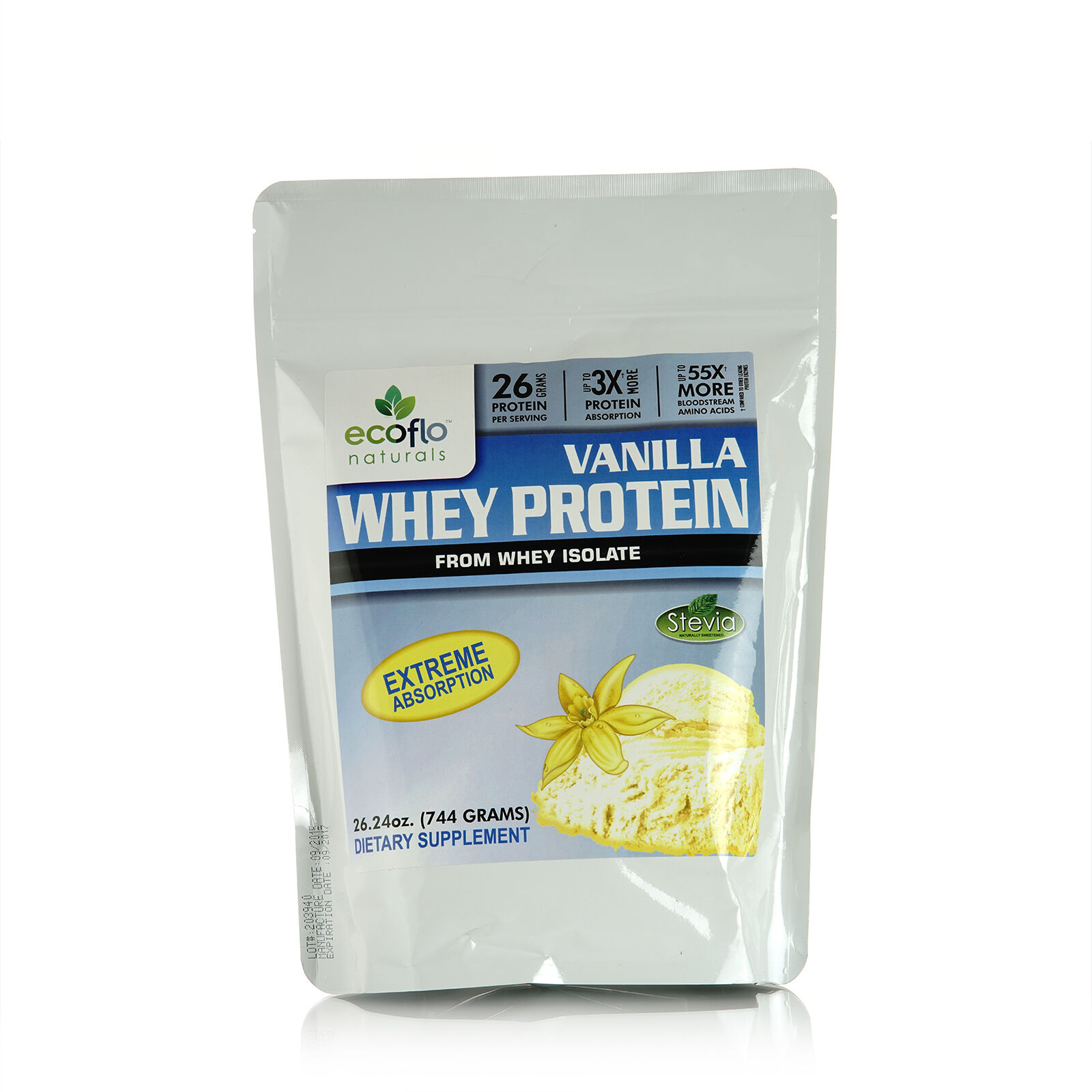 Ecoflo Naturals - Whey Protein Vanilla – Isolate 26.24 oz Whey Isolate – Sugar Free 68ee0f