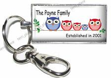 Personalized Owl Family Established Glass Top Key Chain Custom Family & Year