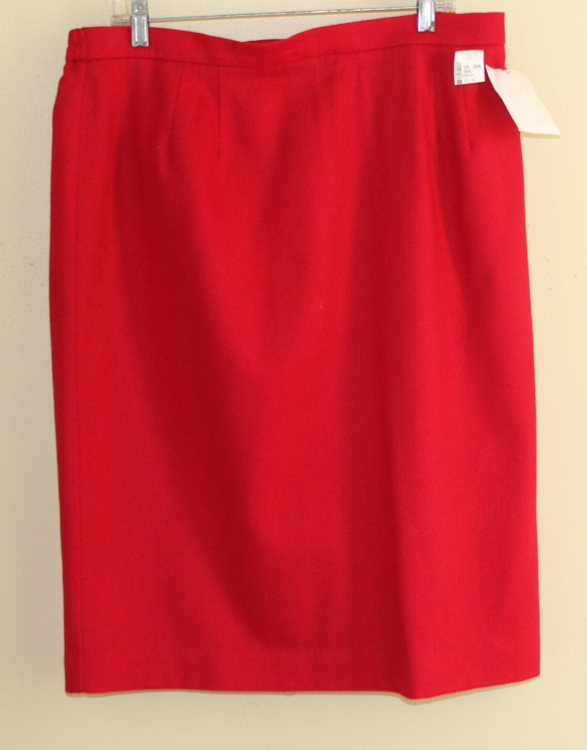 New WORTHINGTON Elegant Classic Red Wool Straight Pencil Skirt Sz 20T (TALL)