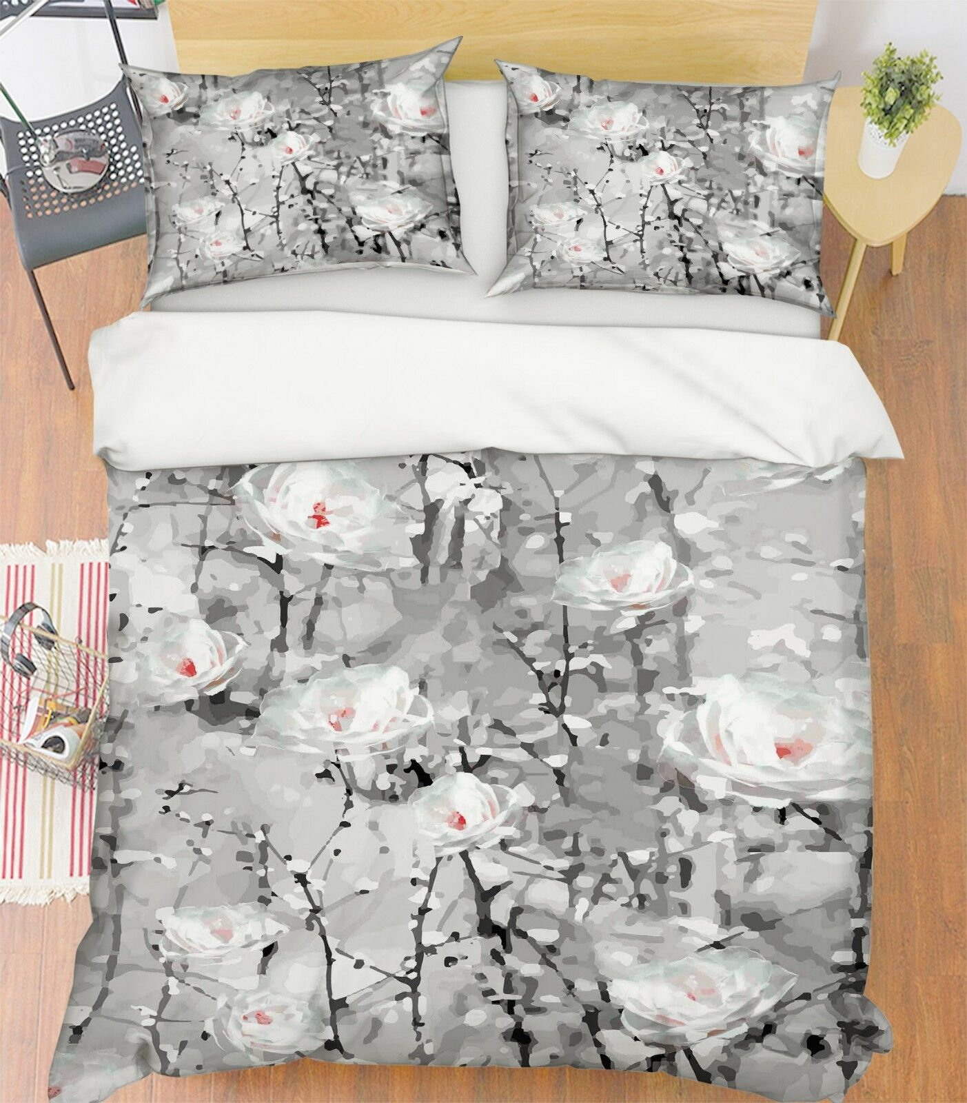 3D Blaumenmalerei 35 Bett Kissenbezüge steppen Duvet Decken Set Single Königin DE